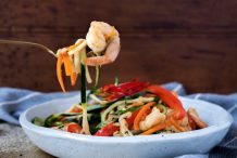 Stir-fry Zucchini Noodles with Prawns