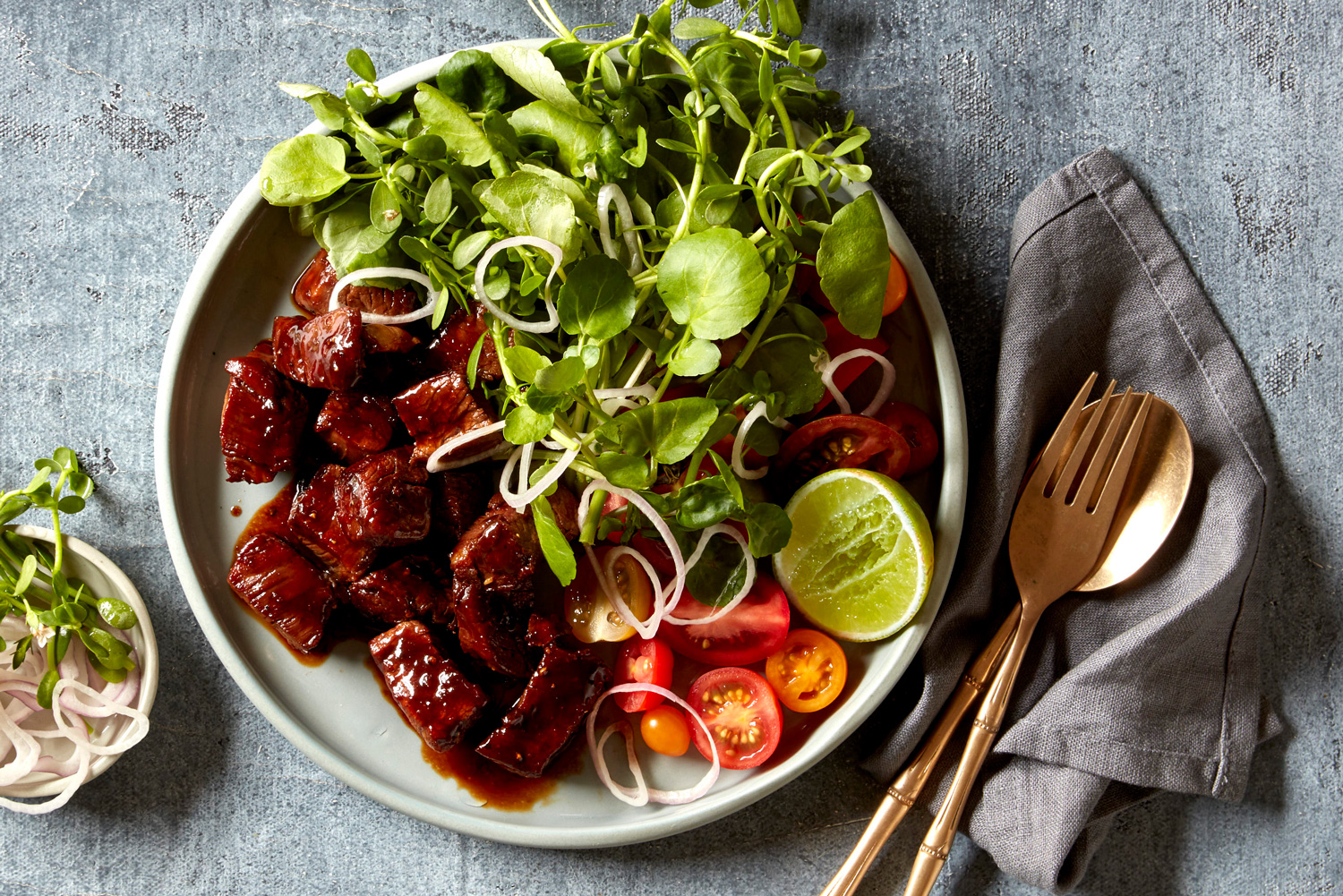 Vietnamese Shaking Beef Salad Asian Inspirations