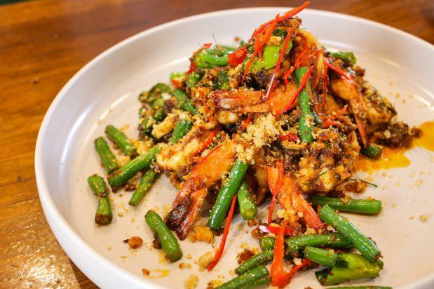 Thai Stir Fried Prawns and Green Beans (Pad Prik Khing Goong)