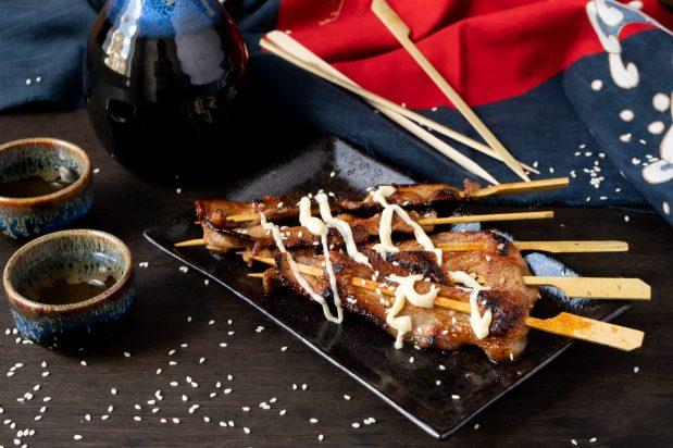 Japanese Wasabi Pork Skewers