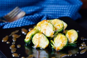 Fried Brussel Sprouts with Miso Glaze