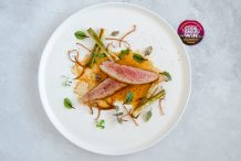 Crispy Skin Duck Breast with Spring Onions, Enoki & Hoisin Jus