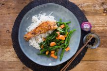 Honey-Soy Salmon with Rich Coconut Rice & Ginger Veggies
