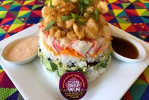 Sushi Stack with Egg Floss and Spicy Mango Kewpie