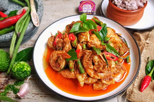 Mixed Seafood Stir-fried With Red Curry Paste