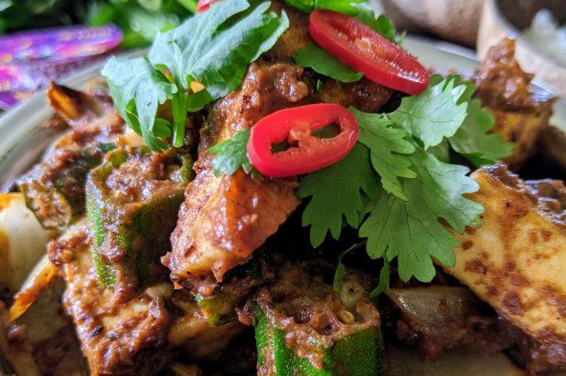 Tofu & Okra Rendang with Asian Greens