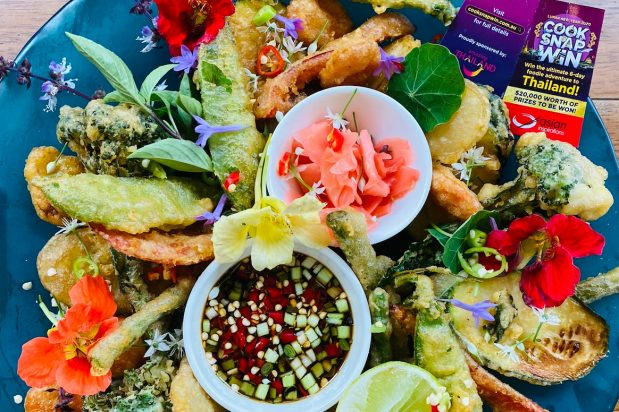 Veggie Tempura Tasting Plate with Spicy Dipping Sauce