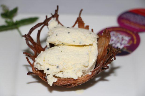 Mirin, Mint and Black Sesame Ice-cream in Coconut Soba Birds' Nests