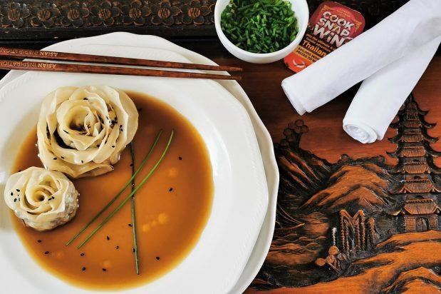 Flower Blossom Dumplings in Sesame & Shiitake Mushroom Broth