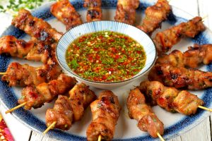 Lemongrass Chicken Skewer with Spicy and Tangy Dip