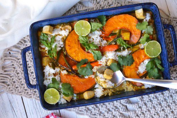 Vegetarian Thai Curry Tray Bake