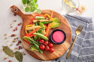 Summer Veges with Wasabi Beetroot Dip