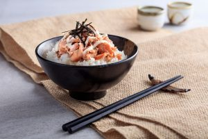 Yuzu Mayonnaise Salted Salmon Flake served on Steam Rice