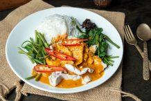 """Swimming Rama"" Thai Peanut Sauce with Spinach & Pork (Pra Ram Rong Song)"