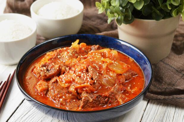 Slow Cook Kimchi Beef Stew
