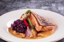 Pan Seared Salmon with Massaman Curry and Sauteed Purple Cabbage