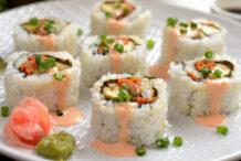 "Vegan Spicy ""Salmon"" Sushi Roll"